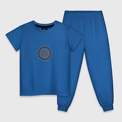 Пижама хлопковая детская Run today цвета синий — фото 1