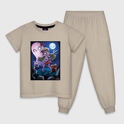 Пижама хлопковая детская Wendy love flower цвета миндальный — фото 1