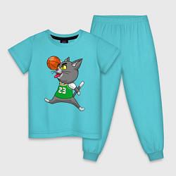 Пижама хлопковая детская Jordan Cat цвета бирюзовый — фото 1