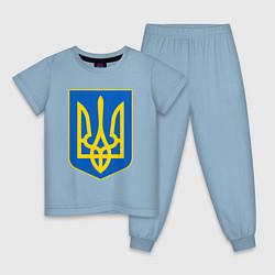 Пижама хлопковая детская Украина Герб Украины цвета мягкое небо — фото 1