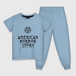 Пижама хлопковая детская American horror story цвета мягкое небо — фото 1
