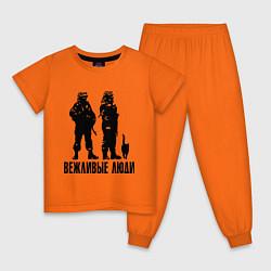 Пижама хлопковая детская Вежливые люди и кот цвета оранжевый — фото 1