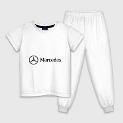 Пижама хлопковая детская Mercedes Logo цвета белый — фото 1