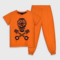 Пижама хлопковая детская Череп мотоциклиста цвета оранжевый — фото 1