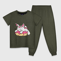Пижама хлопковая детская Зайка цвета меланж-хаки — фото 1