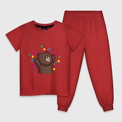 Пижама хлопковая детская Мишка в серпантине цвета красный — фото 1