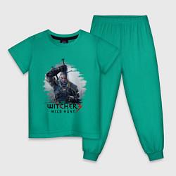 Пижама хлопковая детская The Witcher 3 цвета зеленый — фото 1