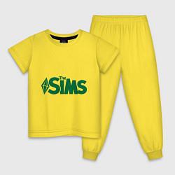Пижама хлопковая детская Sims цвета желтый — фото 1