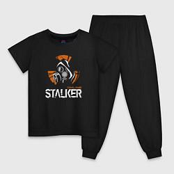 Пижама хлопковая детская STALKER: Online цвета черный — фото 1