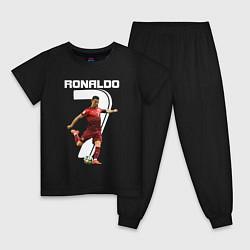 Пижама хлопковая детская Ronaldo 07 цвета черный — фото 1