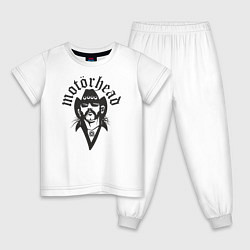 Пижама хлопковая детская Motorhead Rocker цвета белый — фото 1