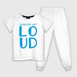 Пижама хлопковая детская Thinking Out: Loud цвета белый — фото 1