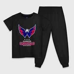 Пижама хлопковая детская Washington Capitals цвета черный — фото 1