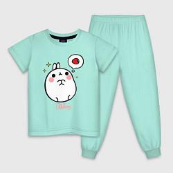 Пижама хлопковая детская Кролик Моланг с клубникой цвета мятный — фото 1