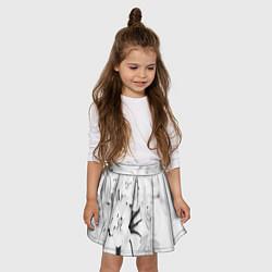 Юбка-солнце для девочки Белая сакура цвета 3D — фото 2