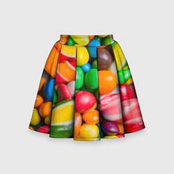 Юбка-солнце для девочки Сладкие конфетки цвета 3D — фото 1
