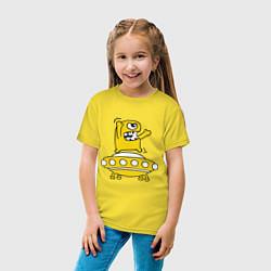 Футболка хлопковая детская Пришелец Саня цвета желтый — фото 2
