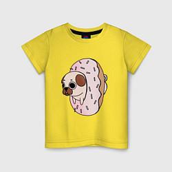 Футболка хлопковая детская Мопс-пончик цвета желтый — фото 1