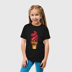 Футболка хлопковая детская Мороженко цвета черный — фото 2