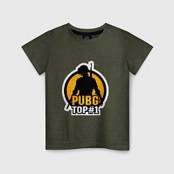 Детская хлопковая футболка с принтом PUBG Top 1, цвет: меланж-хаки, артикул: 10140928300014 — фото 1