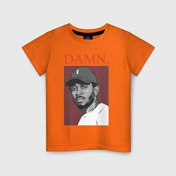 Футболка хлопковая детская Kendrick Lamar: DAMN цвета оранжевый — фото 1