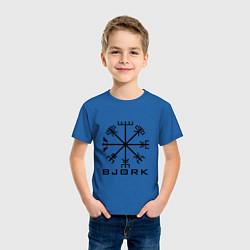 Футболка хлопковая детская Bjork Rune цвета синий — фото 2