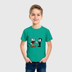 Футболка хлопковая детская Cuphead: Bendy цвета зеленый — фото 2