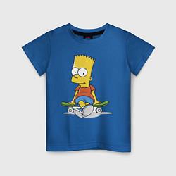 Футболка хлопковая детская Барт на скейте цвета синий — фото 1