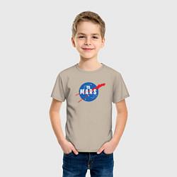 Футболка хлопковая детская Elon Musk: To Mars цвета миндальный — фото 2