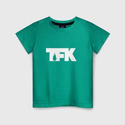 Футболка хлопковая детская TFK: White Logo цвета зеленый — фото 1