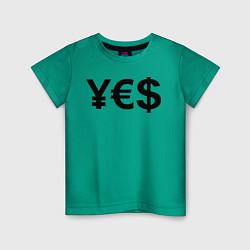 Футболка хлопковая детская YE$ цвета зеленый — фото 1
