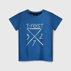 Футболка хлопковая детская T-Fest 327 цвета синий — фото 1