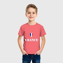 Футболка хлопковая детская France цвета коралловый — фото 2