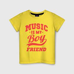 Футболка хлопковая детская Music is my boyfriend цвета желтый — фото 1