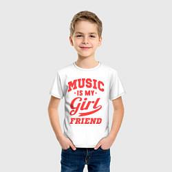 Футболка хлопковая детская Music is my girlfriend цвета белый — фото 2
