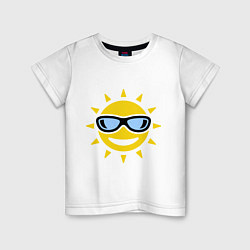 Футболка хлопковая детская Солнышко в очках цвета белый — фото 1