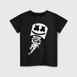 Футболка хлопковая детская Marshmello King цвета черный — фото 1