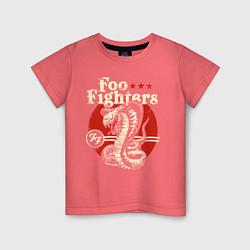 Футболка хлопковая детская Foo Fighters: FF Snake цвета коралловый — фото 1