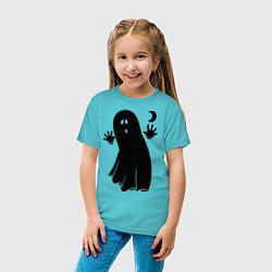 Детская хлопковая футболка с принтом Приведение, цвет: бирюзовый, артикул: 10017239300014 — фото 2