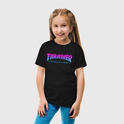 Футболка хлопковая детская Thrasher Magazine: Neon Light цвета черный — фото 2