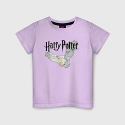 Футболка хлопковая детская Гарри Поттер: Букля цвета лаванда — фото 1