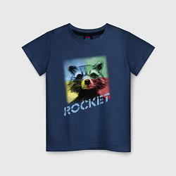Футболка хлопковая детская ROCKET цвета тёмно-синий — фото 1