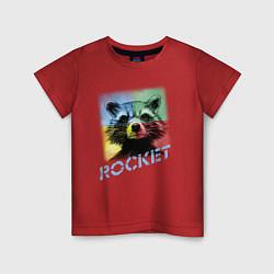 Футболка хлопковая детская ROCKET цвета красный — фото 1