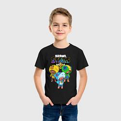 Футболка хлопковая детская Brawl Stars Leon Trio цвета черный — фото 2