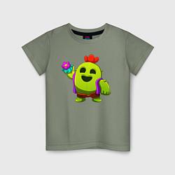 Футболка хлопковая детская BRAWL STARS SPIKE цвета авокадо — фото 1