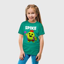 Футболка хлопковая детская BRAWL STARS SPIKE цвета зеленый — фото 2