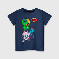 Детская хлопковая футболка с принтом BRAWL STARS LEON, цвет: тёмно-синий, артикул: 10231216100014 — фото 1