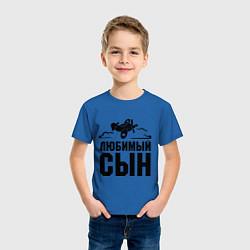 Футболка хлопковая детская Любимый сын-авиатор цвета синий — фото 2