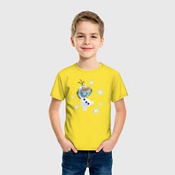 Футболка хлопковая детская Веселый Олаф цвета желтый — фото 2
