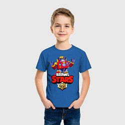 Футболка хлопковая детская Вольт - Brawl Stars цвета синий — фото 2